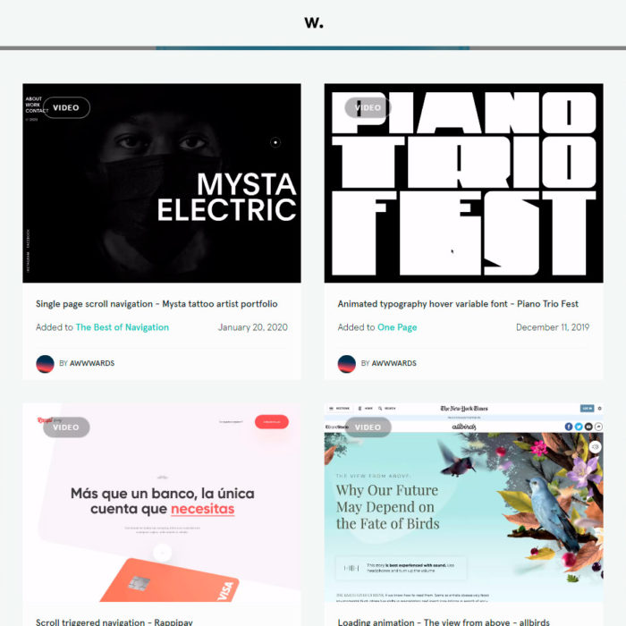 Awwwards collection web